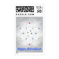 Hanukkah Star and Snowflakes Gray Postage