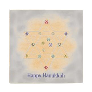 Hanukkah Star and Snowflakes Gray Wood Coaster