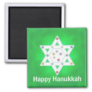 Hanukkah Star and Snowflakes Green 2 Inch Square Magnet