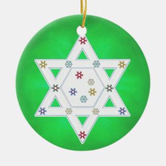 Hanukkah Star and Snowflakes Green Ceramic Ornament