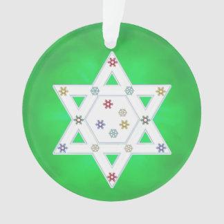 Hanukkah Star and Snowflakes Green Ornament