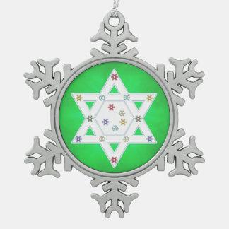 Hanukkah Star and Snowflakes Green Snowflake Pewter Christmas Ornament
