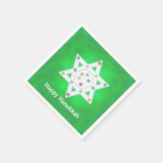 Hanukkah Star and Snowflakes Green Paper Napkin