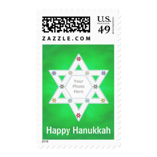 Hanukkah Star and Snowflakes Green Photo Frame Stamps