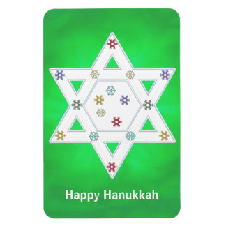 Hanukkah Star and Snowflakes Green Rectangular Photo Magnet