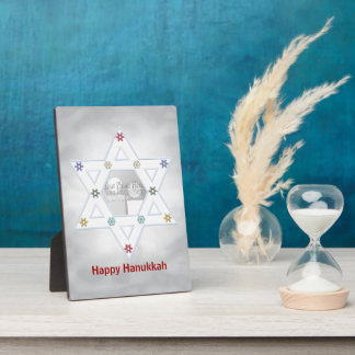 Hanukkah Star and Snowflakes Grey  (photo frame) Plaque