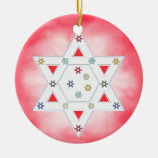 Hanukkah Star and Snowflakes Red Ceramic Ornament