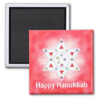 Hanukkah Star and Snowflakes Red Magnet