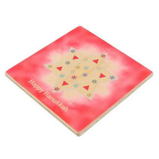 Hanukkah Star and Snowflakes Red Maple Wood Coaster