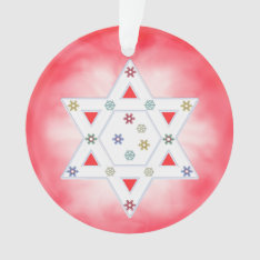 Hanukkah Star And Snowflakes Red Ornament at Zazzle