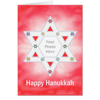 Hanukkah Star and Snowflakes Red (photo frame) Greeting Cards