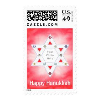 Hanukkah Star and Snowflakes Red Photo Frame Postage