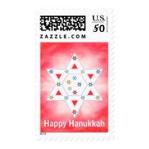 Hanukkah Star and Snowflakes Red Postage