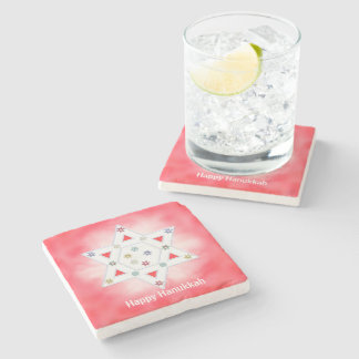 Hanukkah Star and Snowflakes Red Stone Coaster