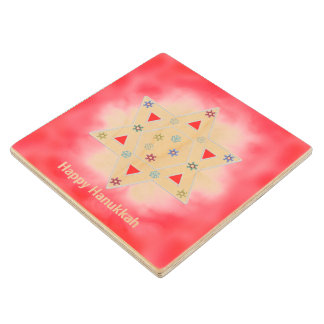 Hanukkah Star and Snowflakes Red Wood Coaster