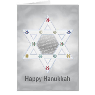 Hanukkah Star and Snowflakes Silver (photo frame) Greeting Cards