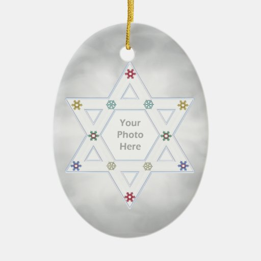 Hanukkah Star and Snowflakes Silver (photo frame) Double-Sided Oval Ceramic Christmas Ornament