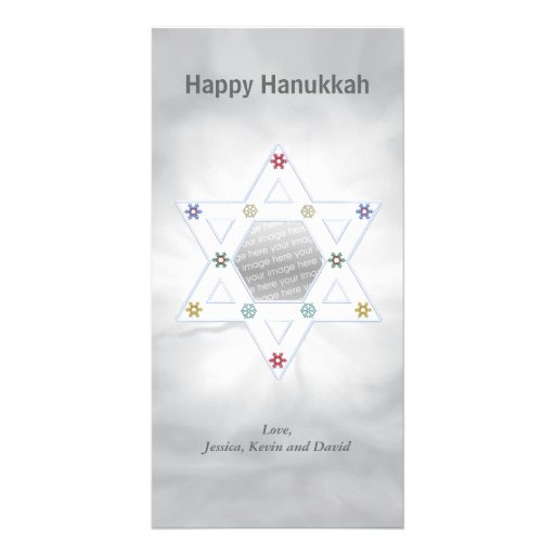 Hanukkah Star and Snowflakes Silver Picture Card