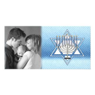 Hanukkah Star Menorah Photo Greeting Card