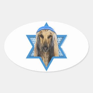 Hanukkah Star of David - Afghan Oval Sticker