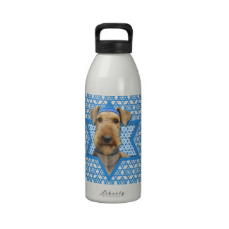 Hanukkah Star of David - Airedale Terrier Reusable Water Bottle