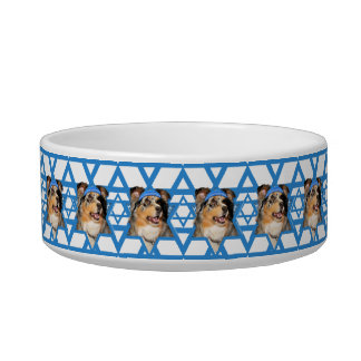 Hanukkah Star of David - Australian Shepherd Cat Water Bowls