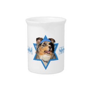 Hanukkah Star of David - Australian Shepherd Beverage Pitchers
