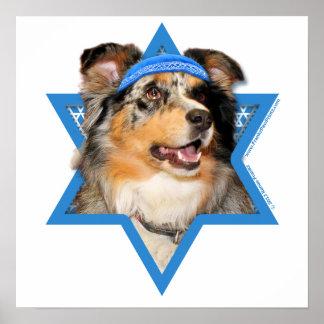 Hanukkah Star of David - Australian Shepherd Poster