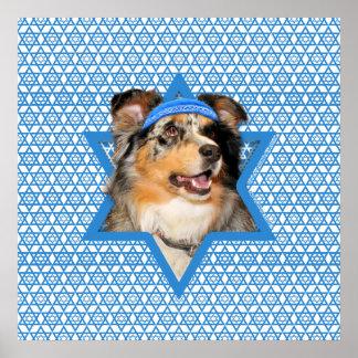 Hanukkah Star of David - Australian Shepherd Posters