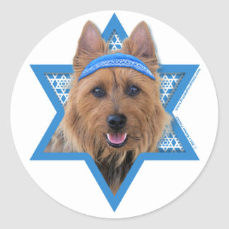 Hanukkah Star of David - Australian Terrier Classic Round Sticker