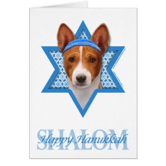 Hanukkah Star of David - Basenji Stationery Note Card