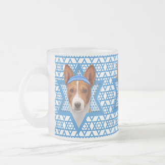 Hanukkah Star of David - Basenji Frosted Glass Coffee Mug