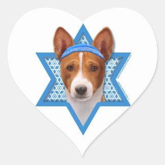 Hanukkah Star of David - Basenji Heart Sticker