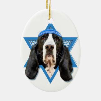 Hanukkah Star of David - Basset Hound - Jasmine Ceramic Ornament