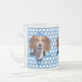 Hanukkah Star of David - Beagle Frosted Glass Coffee Mug