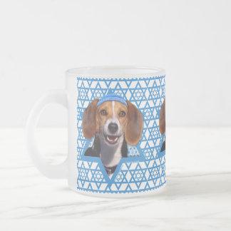 Hanukkah Star of David - Beagle Frosted Glass Coffee Mug