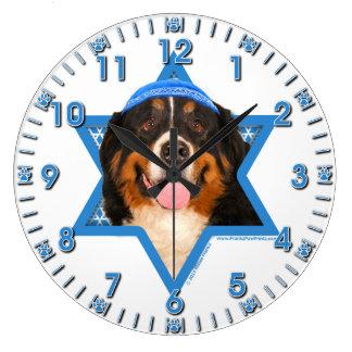 Hanukkah Star of David - Bernese Mountain Dog Wall Clocks