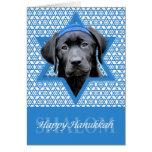 Hanukkah Star of David - Black Labrador Card