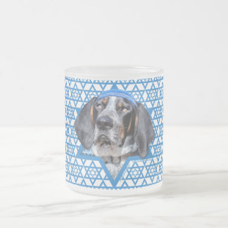Hanukkah Star of David - Bluetick Coonhound Chuck Frosted Glass Coffee Mug