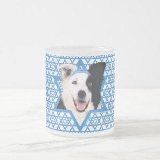 Hanukkah Star of David - Border Collie Frosted Glass Coffee Mug