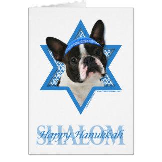 Hanukkah Star of David - Boston Terrier Card