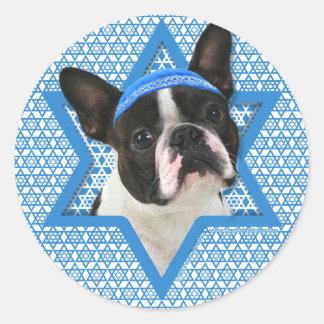 Hanukkah Star of David - Boston Terrier Classic Round Sticker