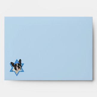 Hanukkah Star of David - Boston Terrier Envelope