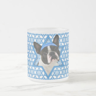 Hanukkah Star of David - Boston Terrier Frosted Glass Coffee Mug