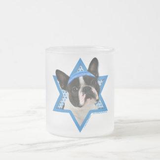 Hanukkah Star of David - Boston Terrier Frosted Glass Coffee Mug
