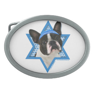 Hanukkah Star of David - Boston Terrier Oval Belt Buckle