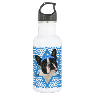 Hanukkah Star of David - Boston Terrier Stainless Steel Water Bottle
