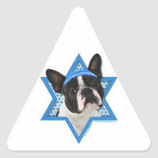 Hanukkah Star of David - Boston Terrier Triangle Sticker