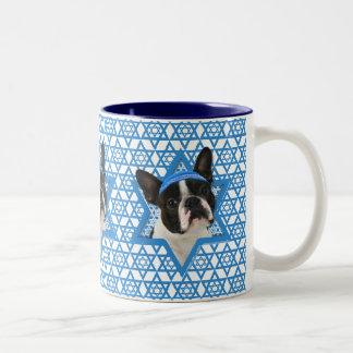 Hanukkah Star of David - Boston Terrier Two-Tone Coffee Mug