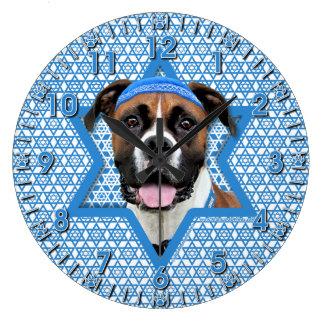 Hanukkah Star of David - Boxer - Vindy Large Clock